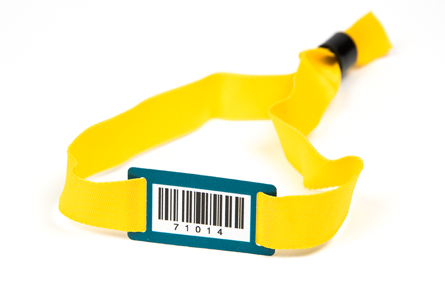 Stoffarmband mit PVC Plättchen