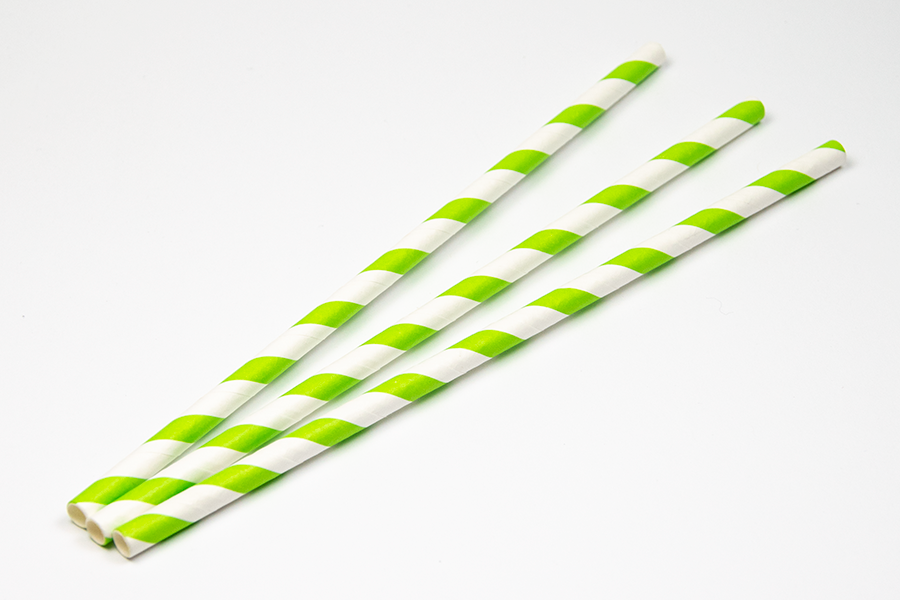 Trinkhalme aus Papier grün-weiss (200 Stück)