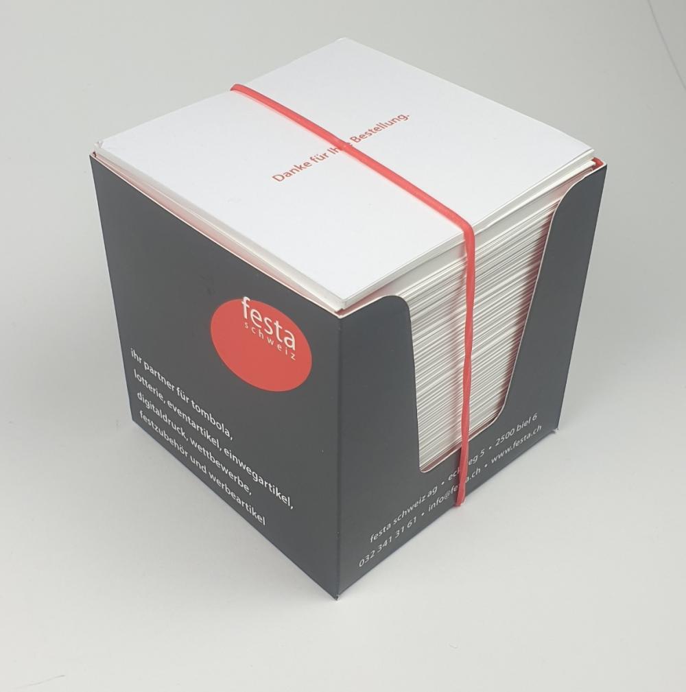 Zettelbox mit Ihrer Werbung